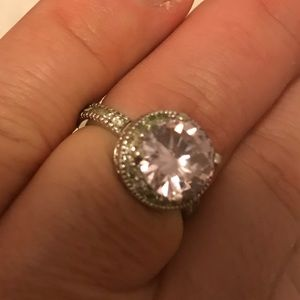 Anthropologie Pink Crystal Solitaire Ring size 8